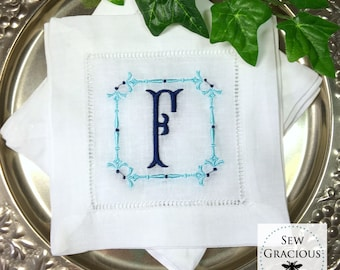 Set of 4 Custom Embroidered MONOGRAM Cocktail Napkins. Wedding Gift. Hostess Gift. Bar Cart Decor. Turned Spindle Border. Chinoiserie