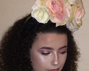 Vintage 1940s Style Blush Rose Fascinator