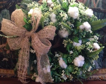 Handmade cotton bowl wreath with bow