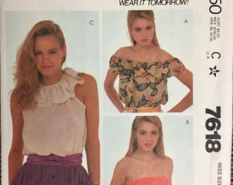80's McCall's 7618 Pullover Tops With Ruffles  Bust 32-34 inches  Complete