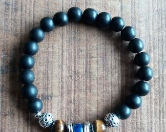 1418 - ethnic, mens bracelet, lapis lazuli and onyx, Tiger eye