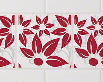 Hibiscus Red RETile Decal - White Background