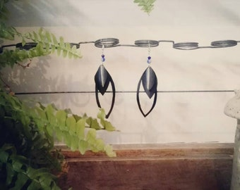 glass bead inner tube drop earrings dangle sterling silver 925 handmade upcycling recycling boho festival unique unusual design