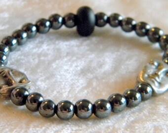 Black Hematite Round Beads & 2 Face Beads Bracelet, Elastic, Matte Black Lampwork Bead