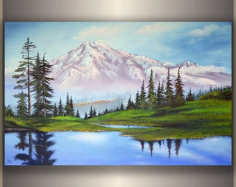 "Original Oil Painting art painting original painting mountain painting decor painting ORIGINAL Oil Painting ""Mountain Landscape"""