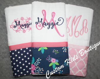 Navy and Pink Floral Baby Girl Burp Cloth Gift Set- Set of 3 Custom Monogrammed Burp Cloths