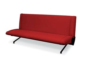 Osvaldo Borsani 'D70' Red Sofa Daybed for Tecno, 1954