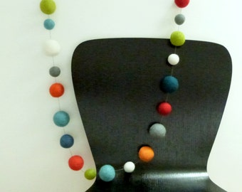 Playtime Garland XL - large felt ball garland in playful colors  --  3.5  feet long -- garland in red blue orange green white