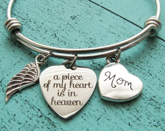 sympathy gift mom, memorial jewelry mother loss of mother bracelet, in memory of mom, a piece of my heart is in heaven mom memorial bracelet
