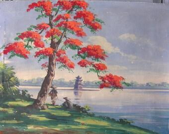 """VIETNAM 1950 French Antique Painting """" Petit Lac Hanoï """" in Vietnam in 1950s.Signed, french oil painting. French Antique"""
