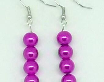 Dark Purple Glass Pearl Beaded Earrings