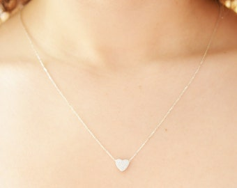 Heart Necklace / Sterling Silver Valentine Necklace / Cute Heart Necklace / Mini Heart Necklace / Valentines Day Gift