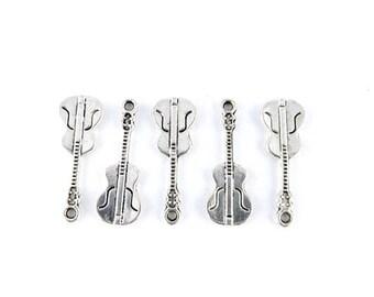 x 10 charms antique silver violin 10x26mm (93D)