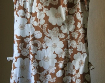 1960s asian inspired mocha and cream cotton sleevless dress size Large