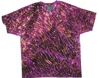 XXL Shibori Dyed Men's T Shirt Deep Purple Blace Tie Dye 2X