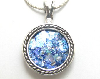 Amazing 925 Silver Filigree  Colorful  Roman Glass  Pendant Necklace