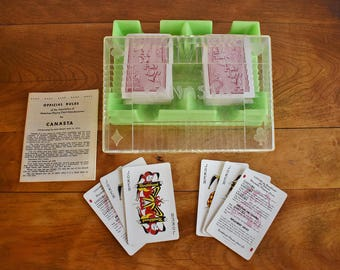 Vintage Canasta Card Game, Mid Century Double Deck of Cards, Canasta Cards with Tray Instructions, Retro Family Game Night, Playing Cards