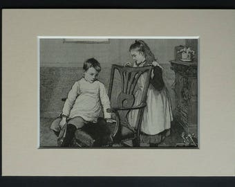 1890s Antique Print of Children, Brother Gift for Child Decor, Available Framed, Sister Art, Sibling Picture, Victorian Family Illustration