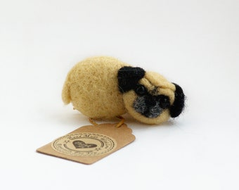 Pug brooch broach Dog lover gift Pug jewelry Felted miniature Pug lover gift idea Felt pug Dog ornament Needle felted pug brosche pin