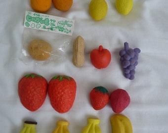 Sixteen novelty fruit erasers