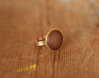 Brown ring, Adjustable ring, brown & gold ring, Gold adjustable ring, Adjustable large ring, Brown round ring, Gold Adjustable round ring