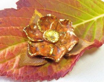 Large copper flower cabochon * autumn glow * N ° 2