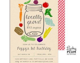 Farmer's Market Birthday Invitation / Locally Grown Birthday Invitation / Farm Birthday Invitation / Organic Mason Jar Rustic Vintage
