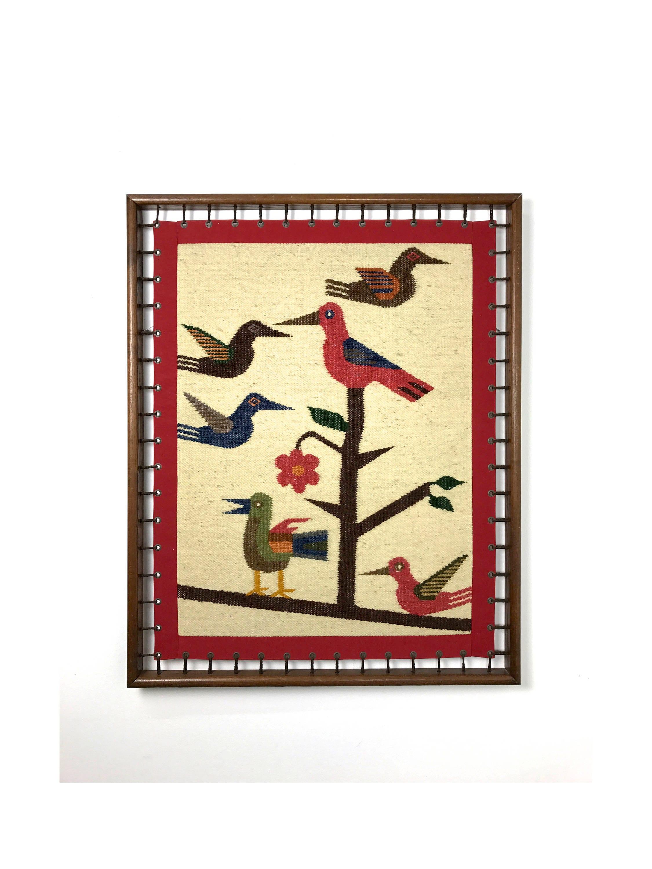 Vintage Modernist Woven Bird Framed Fiber Wall Art 1970\'s