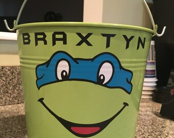 Custom Easter Bucket, Ninja Turtles Easter Bucket, Metal Easter Bucket, Name Easter Bucket, Green Easter Bucket