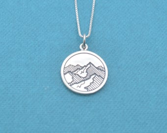 "Mountain range pendant in sterling silver on sterling silver 18"" Box Chain.  Gift for hiker.  Gift for camper.  Take me to the mountains."