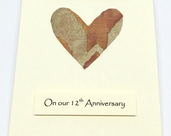 12th Wedding Anniversary Card Silk Anniversary Husband Wife Him Her Venezia Silk Fancy Handmade Cards made in UK