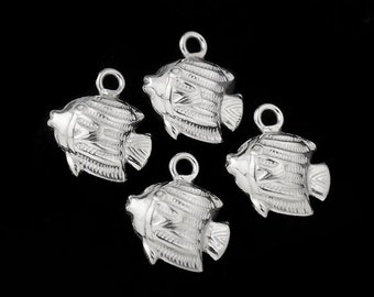 4 of 925 Sterling Silver Fish Charms 9x11 mm. :th1131