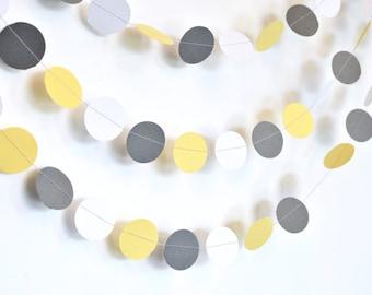 Yellow Grey and White 10ft, Paper Garland, Birthday Party Decor, Wedding Decor, Shower Decor, Nursery