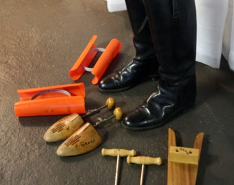 AMAZING 11pc 1960s equestrian Windsor riding boot LOT with all accessories!