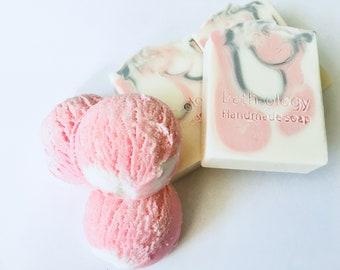new /bath truffles/bath fizzy/bubble bars scoops/handmade soap/pink bubble bars/handmade from scratch/pink soap/