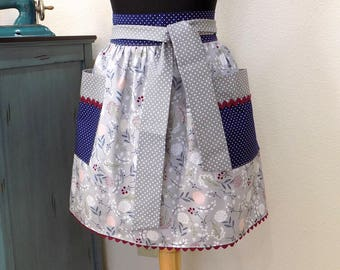 Womens Retro Half Apron Modern Kitchen Cooking Waist Aprons with Pockets