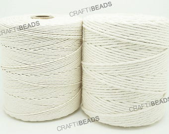 Natural White - 100% Cotton Twisted Cord Rope Craft Macrame Artisan String 1.5MM & 2MM Thickness