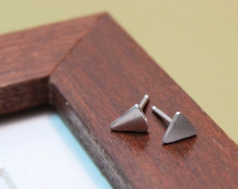 Triangle Sterling Stud Earrings- Free Shipping, sterling posts, silver posts, silver studs, minimalist earrings