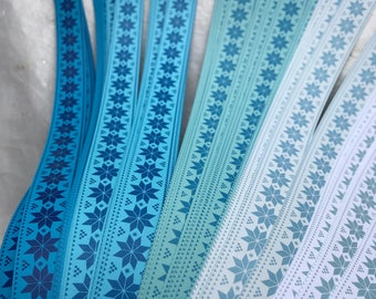 Blue Fare Aisle ~Moravian German Froebel Star Paper (52 strips)