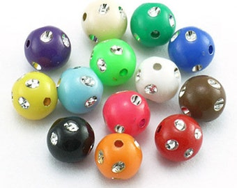 Bulk Beads Wholesale Beads Bling Beads Assorted Beads Large Lot 50pcs 8mm Acrylic Beads in Bulk Assorted Colors