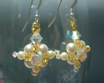 Kiss and Hug -- SWAROVSKI Pearl and Crystal with Sterling Silver Earrings