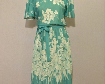 Vintage Floral Mint Pleated Skirt 70s Dress