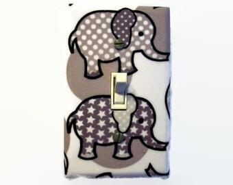 Elephant Switch Plate Cover - Elephants Light Switch Cover - Grey Nursery Baby Room - Elephants Switch Plate Cover - Elephant Room