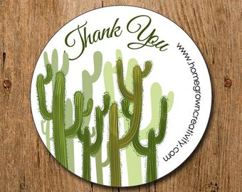 Customized Thank You Stickers - Cactus Desert Green - Labels - Packaging Display - Thank You Stickers