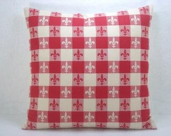Decorative Red Check Fluer de Lis Pillow Modern Check Accent Pillows Toss Pillows 18x18