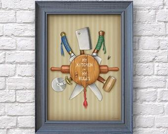 Kitchen tools art print, fine art illustration, whimsey funny gift art, Dorm Home wall decor, Natalprint.