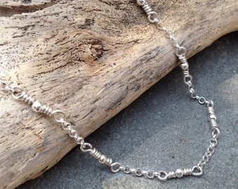 On Sale - 18 Inch Handmade Sterling Artisan Chain Necklace, Sterling Silver Handcrafted Wire Link Chain Necklace in Varying Lengths
