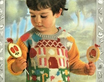 Childs Jumper Hansel and Gretal Knitting Pattern, pdf, sizes 24 to 28 inch chest, knitted in double knit or worsted weight yarn or wool