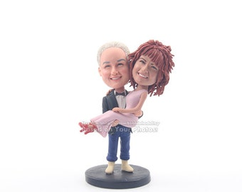 Unique wedding cake topper wedding bobblehead groom holding bride  cake topper for wedding Personalized cake topper
