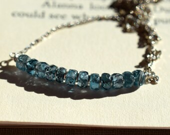 Moss Kyanite Necklace, Teal Kyanite Bar Necklace on Sterling Silver, Teal Blue Gemstone Bar Necklace, Dark Blue Delicate Beaded Bar